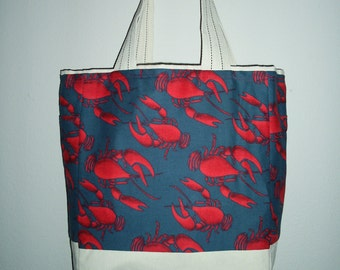 Lobster Tote, Tote Bag, Nautical Tote, Morethanasmile
