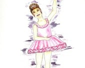 Matted Fine Art Print of Original Watercolor Painting of a Ballerina -- Little Girl in Pink Tutu