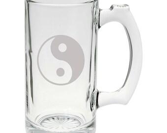 Chinese Yin and Yang Symbol of Balance 25oz Glass Beer Mug Stein