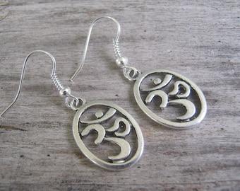 Om Earrings, Aum Earrings, Buddhist Earrings, Yoga Earrings, Sanskrit Earrings, Tibetan Earrings, Namaste Jewelry, Silver, READY To SHIP