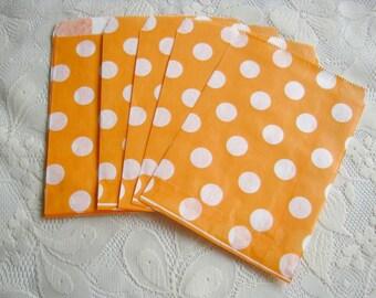 Orange White Dot Paper Bags, Orange Kraft Gift Bag 25pcs, Candy paper bag - 5 x 7inch - party favors treat or treat bag, Wedding, cookie bag