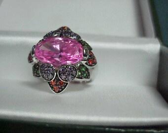 Vintage Pink Topaz Ring   Scandalous Pink in Stunning Setting   Size 7