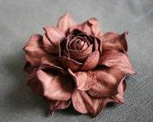 Brown Leather Rose Flower Brooch
