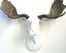 SALE! Faux Taxidermy Large Moose Head Wall Hanging Mount Home Decor: Max the Moose in white, with natural-looking antlers