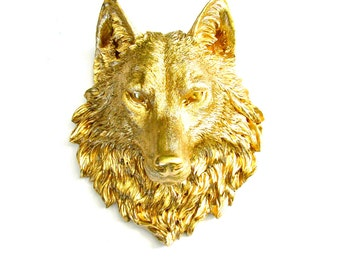 Faux Taxidermy Large Wolf Head Wall Decor Wall Mount: Willem the Wolf in GOLD
