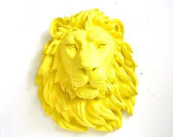 YELLOW Faux Taxidermy Large Lion Head Wall Hanging Wall Mount faux taxidermie yellow lion head safari wall art nursery wall office wall