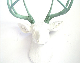 WHITE Lite GREEN GRAY Faux Taxidermy Deer Head wall mount faux animal head stag head Deerman the Deer Head wall hanging wall mount animal