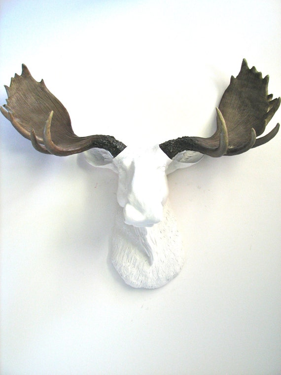 Faux taxidermy large moose head wall hanging mount by mahzerandvee - Fake moose head mount ...