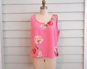 FINAL SALE!! 1990s flowered tank top  / Medium to Large vintage floral blouse / cropped shirt in pink, green, white, red