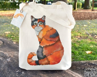 Kitty Cat Tote Bag, Ethically Produced Reusable Shopper Bag, Cotton Tote, Shopping Bag, Eco Tote Bag