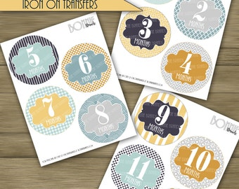 PRINTABLE DIY Monthly Baby Stickers or Iron On Transfers //  Baby Milestone // Baby Boy // Light Blue, Navy, Gold // 12 unique patterns