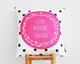 "ON SALE Pink Decorative Pillow, Geometric Kids Pillow, Throw Pillow, Modern Nursery Pillow, Pink & Black Dots 16"" x 16"""