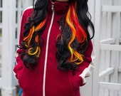 20% OFF Valentines Sale / Fire in Hell / Black Red Orange Yellow / Long Curly Layered Wig Full Thick Bouncy - ExandOh
