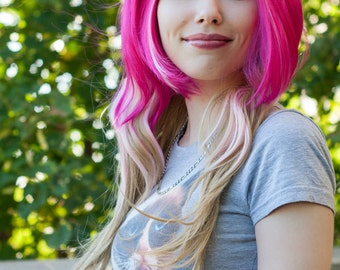 HALLOWEEN SALE / Hot Pink, Cotton Candy Pink and Honey Blonde / Long Wavy Layered Wig