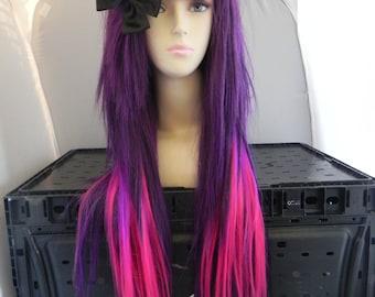 Long Straight Layered Wig - Thick Beautiful Luscious Hair, Dark Purple Neon Purple Wig, Pink Cosplay Wig, Costume Wig,