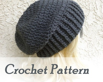 Crochet Pattern Instant Download - Biker Ribbed Slouchy Beanie - Warm winter mens hat - Detailed Beginner Instructions