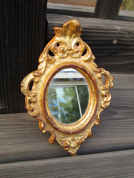 Small ornate mirror gold tone distressed frame vintage wall for Small gold framed mirrors