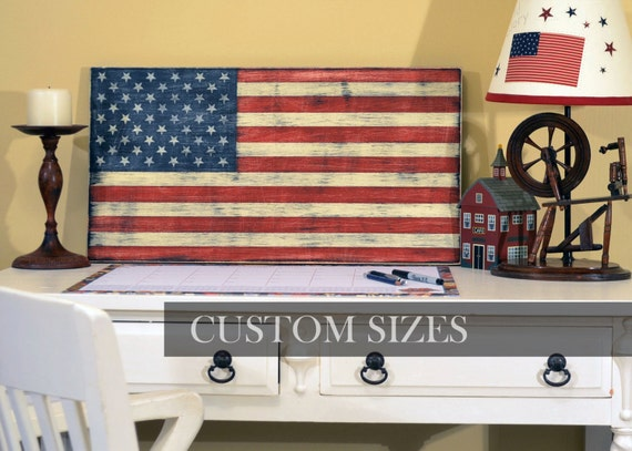 Distressed Wood American Flag - Hand Painted