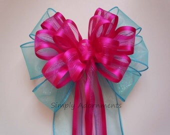 Turquoise Pink Wedding Pew Bow Blue Pink Church Aisle Decorations Wedding Chair Bow Blue Pink Birthday Party Decor Bridal Shower Decor