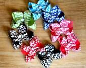 Chevron Hair Bows -  Large Hair Bow - Jumbo Hair Bow - Girls Baby Toddler - Headband - Hair Clips - Hair Accessories