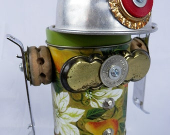 "Robot Assemblage/Sculpture ""Shorty"" Found Object - Junk Art"