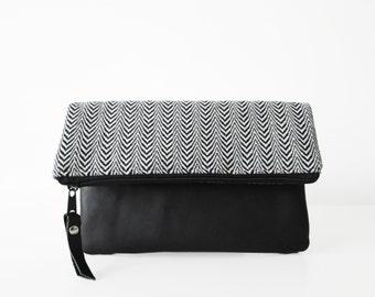Herringbone Clutch purse, Wool and genuine leather, Fold over clutch bag, Black and white, Chevron,