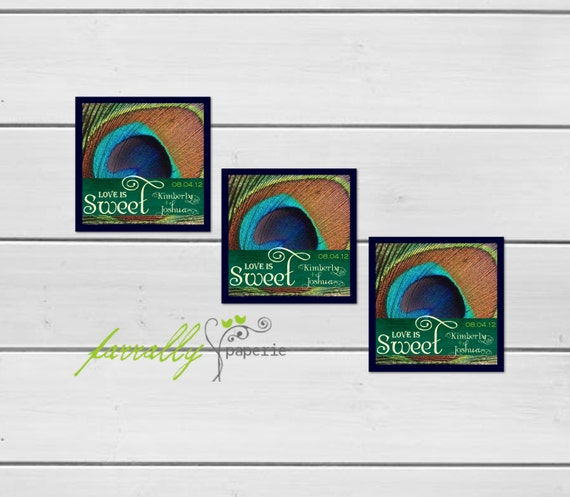 Candy Buffet To-Go Box Labels - Peacock Collection - Personalized Stickers
