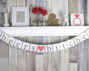 Bachelorette Banner - Cheers Bitches - Hens Party Decoration - Wedding - coral