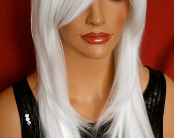 Gwen // WHITE Long Blonde Platinum White Wig Layered Straight Synthetic Hair