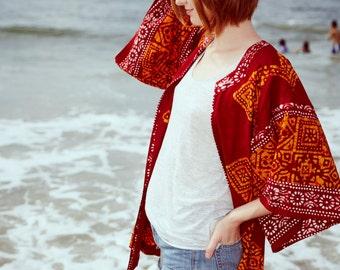 Beautifully Bold Red Print Kimono, Tunic - Repurposed Vintage Fabric