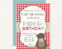Teddy Bear Picnic Theme Party Personalized Birthday Invitation or Evite - Vintage Picnic, Double Sided - DIGITAL FILE ONLY