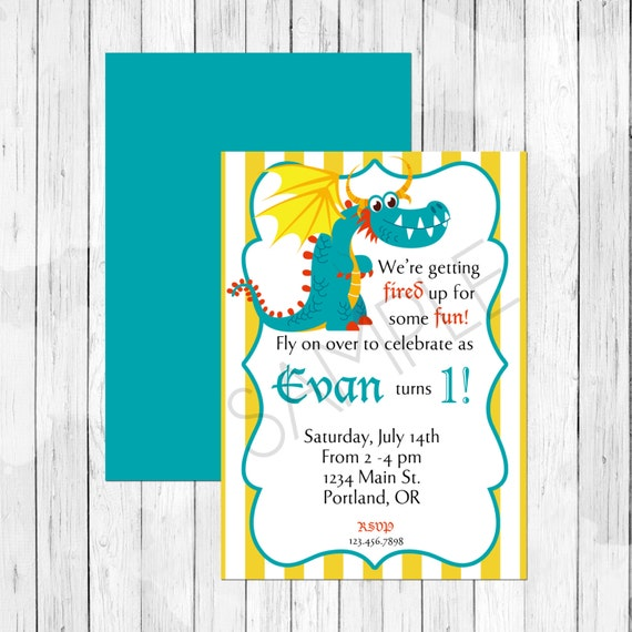 Items Similar To Dragon Theme Party Personalized Birthday