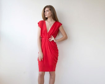 Red formal bridesmaids dress , Knee length bridesmaids gown