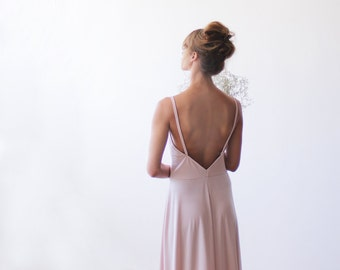 Blush pink open back maxi dress with a sexy slit, Maxi bridesmaids pink gown