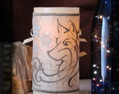 The Winter Snow Wolf with Snowflakes Dancing in a Sparkling Sky Embroidered Candle Wrap For LED Flameless Pillar Candles.