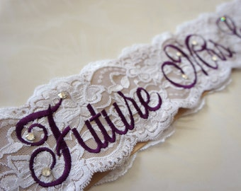 Purple Lace Bridal Sash - Purple, White and Champagne Bachelorette Sash - Customizable Bacelorette Sash