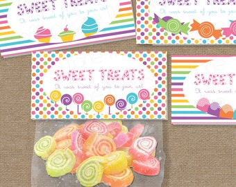 Sweet Shop Candy Land Printable Treat Bag Toppers, Instant Download, DIY