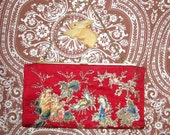 reserved - antique Chinoiserie evening bag red with hand embroidered embellishment