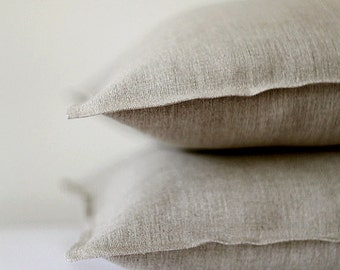 2 Gray linen pillow cases - natural fabric pillow cover - red color - blue decorative covers - green throw pillows - yellow shams  0076