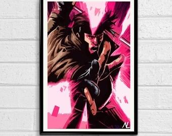 "Gambit Xmen Comic Book Pop Art Poster Print Size 11"" x 17"""