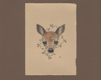 Fawn art print, baby deer drawing, woodland nursery, deer art, girls room art, animal drawing 8x10