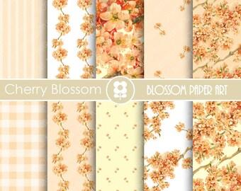 Digital Paper Wedding Digital Paper Pack, Cherry Blossom, Floral Digital Paper Pack, Wedding Paper Pack - Peach Papers- 1664