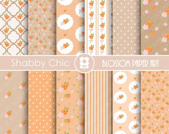 Peach Digital Paper, Floral Peach Digital Paper Pack, Digital Paper Pack, digital backgrounds, Cottage Papers, Floral Wedding Papers -1738