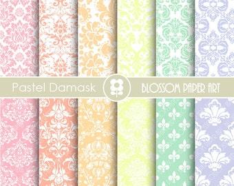 Pastel Digital Paper Damask Digital Paper Pastel Scrapbook Paper Pack, Scrapbooking - INSTANT DOWNLOAD  - 1757