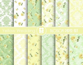 Yellow Wedding Scrapbook Paper, Green Floral Digital Paper Yellow Roses Paper Pack, Wedding, Scrapbooking - INSTANT DOWNLOAD  - 1814