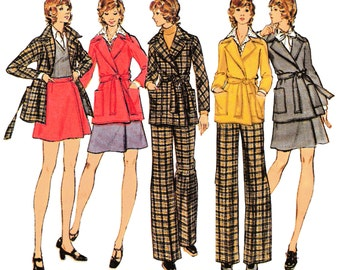 """1972 Jacket/Coat, Front Tie, Dolman Sleeves, Patch Pockets, Wrap Skirt, Front Zip Flared Pants, Butterick 6947 Pick Bust 31 1/2"""", 34"""" or 38"""""""