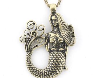 Gold-tone Beautiful Mermaid/Sea-maid Pendant Necklace,M1