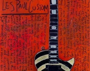 Guitarist | Zakk Wylde Art. 1981 Gibson Les Paul vintage guitar 11x17 art print. The Grail. Ozzy. Black Label Society.