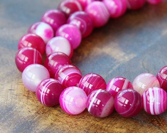 Striped Agate Beads, Fuchsia, 10mm Round - 15 inch strand - eGR-AG58209-10