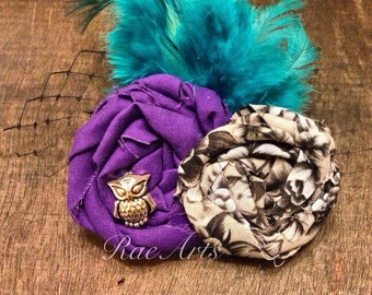 Perched Purple, Rosette and Feather Hair Accessory or Brooch